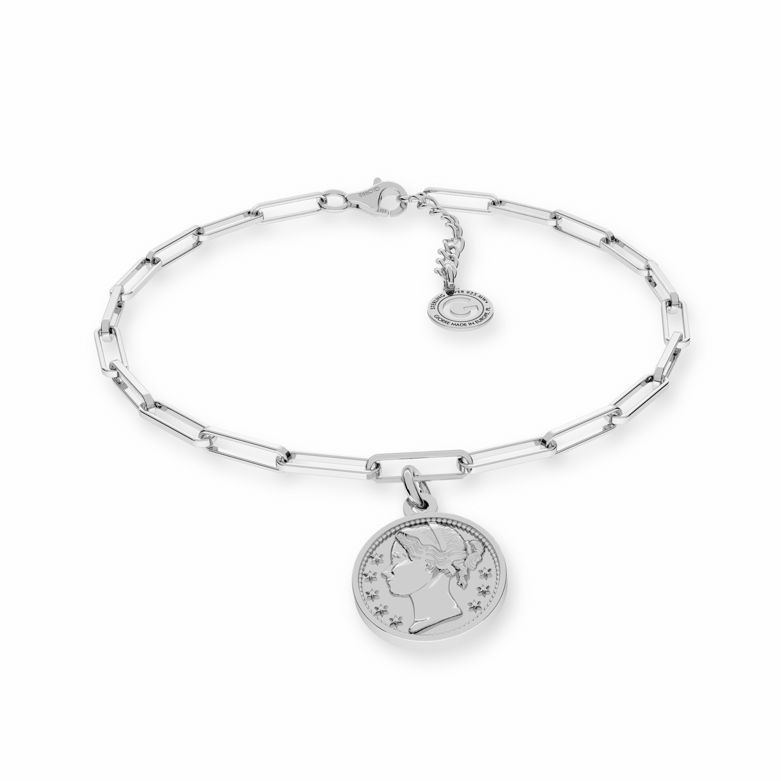 Srebrna bransoletka z monetą srebro 925