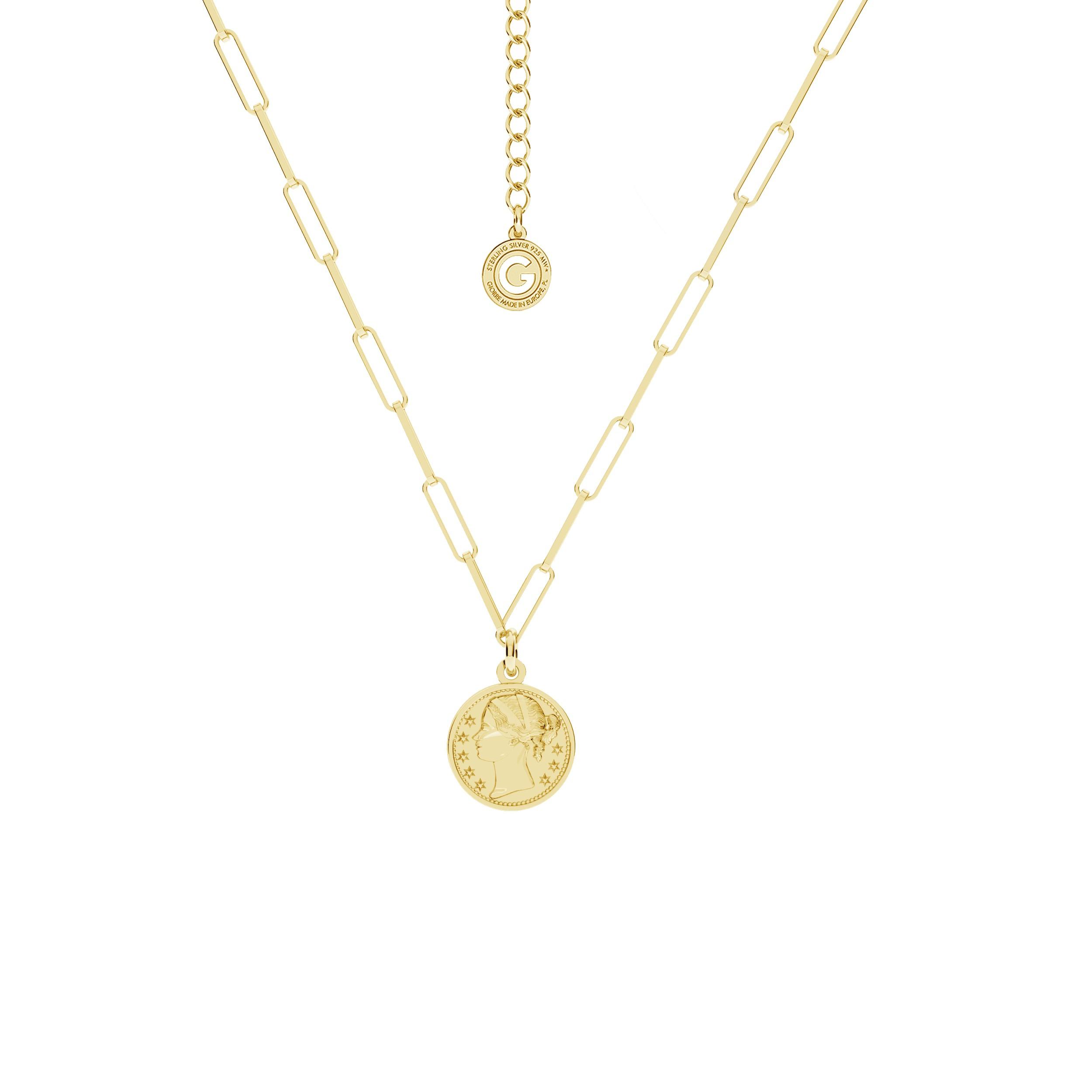 Srebrny naszyjnik z monetą srebro 925