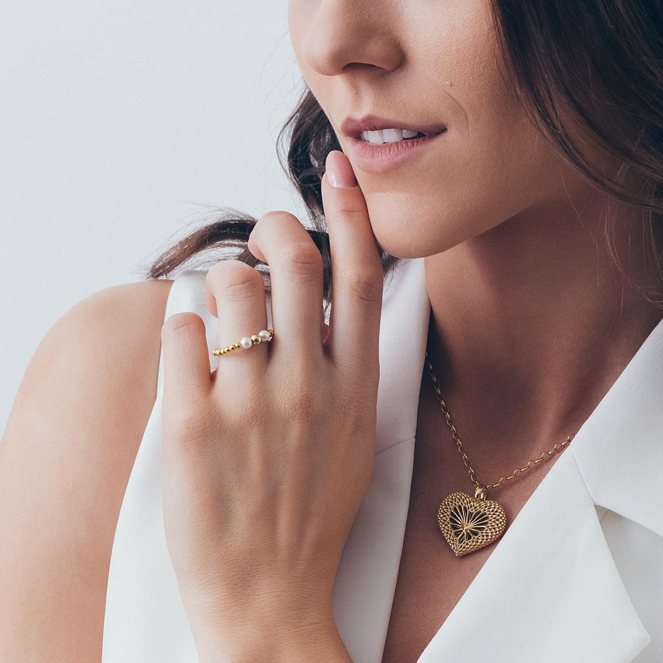 Elastyczny kulkowy pierścionek z perłami, srebro 925