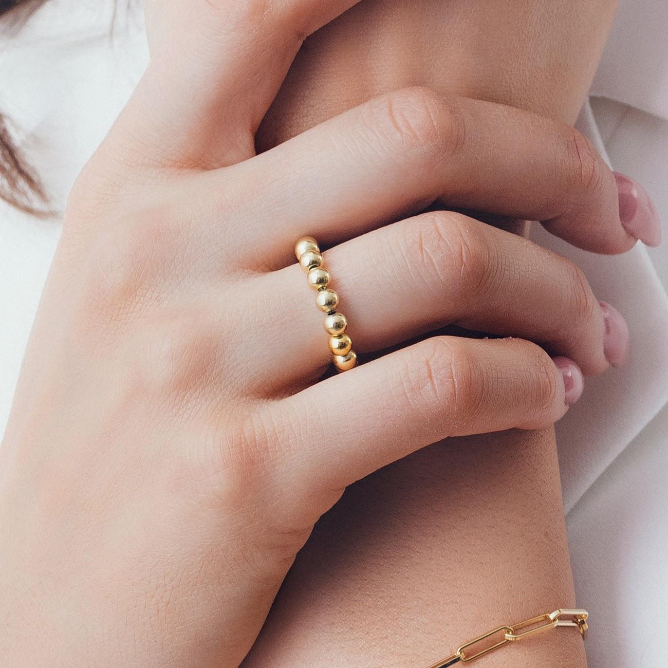 Elastyczny kulkowy pierścionek, srebro 925