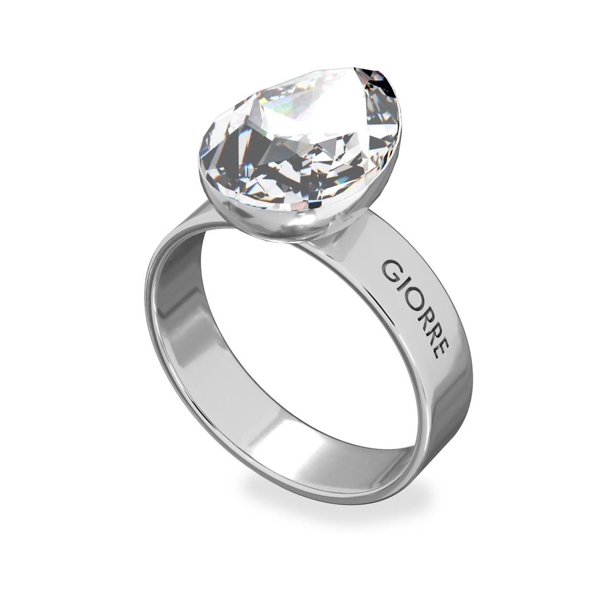 Srebrny pierścionek z kryształem, 925