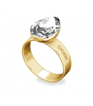 Ring mit birne kristall, silver 925