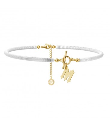 White clay choker with your letter, MON DÉFI, Silver 925