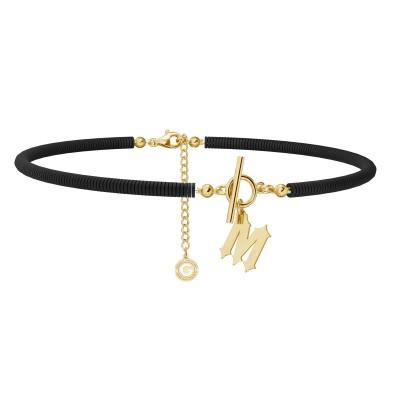 Negro arcilla polimérica collar con carta MON DÉFI, Plata 925