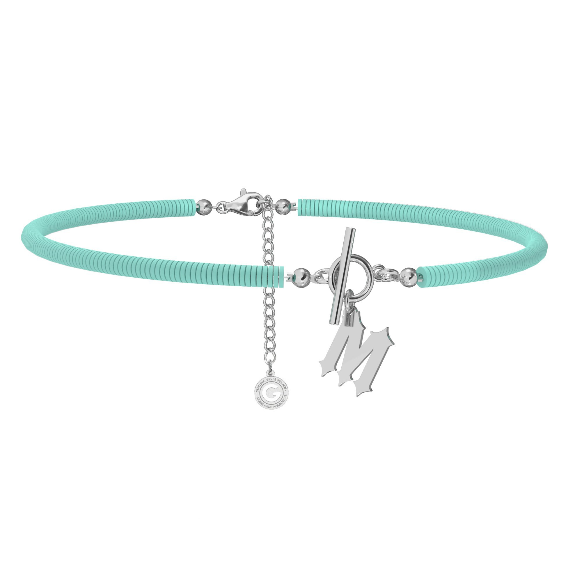 Turquoise polymer clay choker with your letter, MON DÉFI, Silver 925