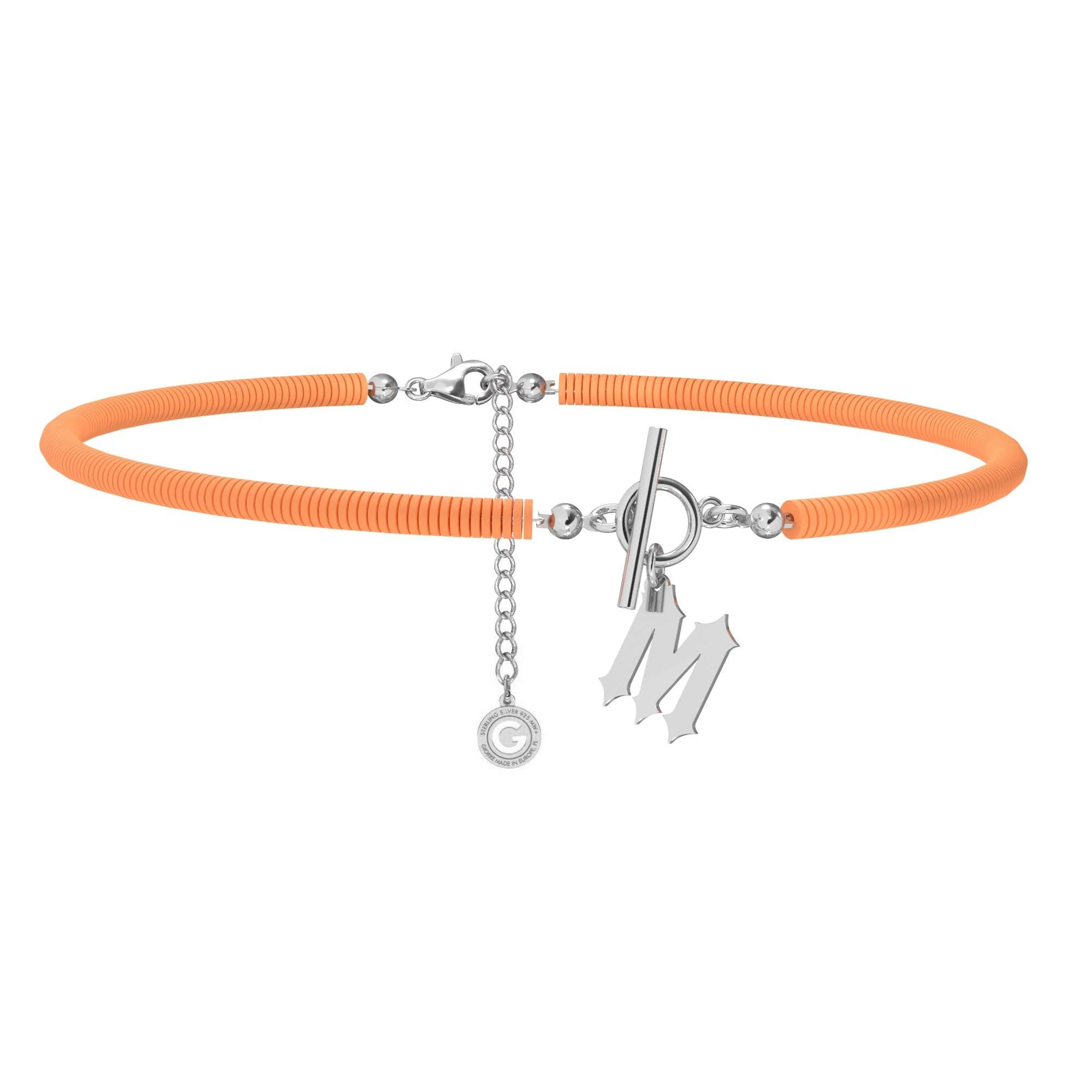 Choker pomarańczowa glinka polimerowa z dowolną literą MON DÉFI, srebro 925