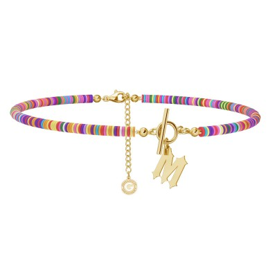 Lilac clay choker with your letter, MON DÉFI, Silver 925