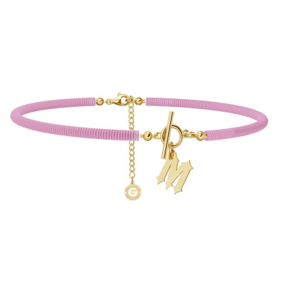 Pink clay choker with your letter, MON DÉFI, Silver 925
