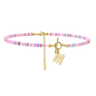 Colorful clay choker with your letter, MON DÉFI, Silver 925