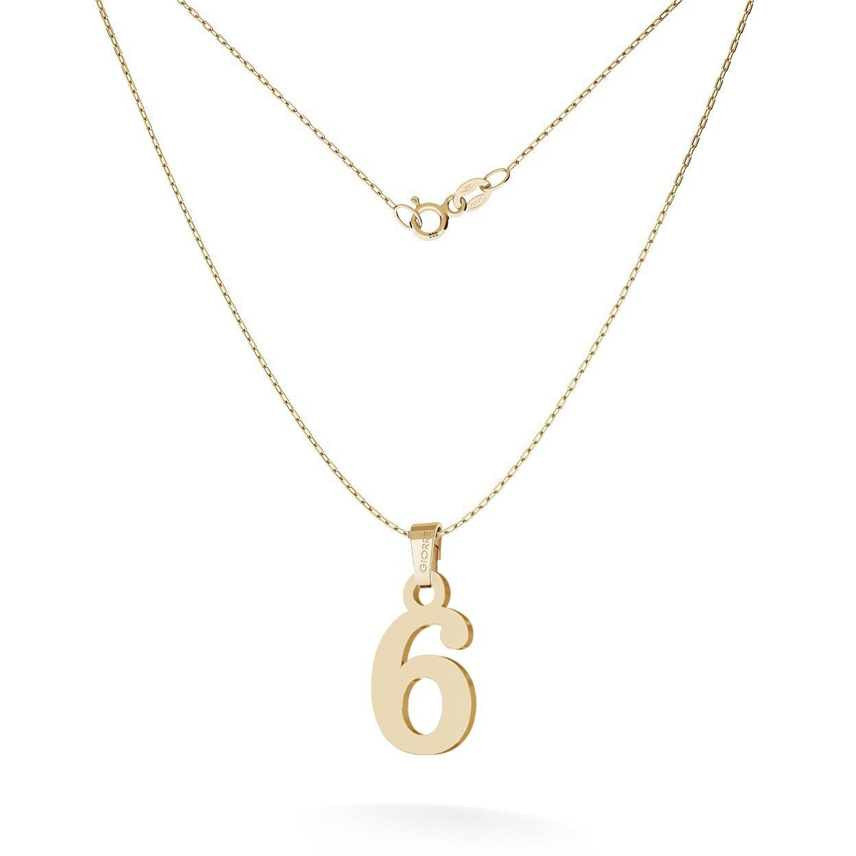 Złoty naszyjnik z cyfrą, srebro 925