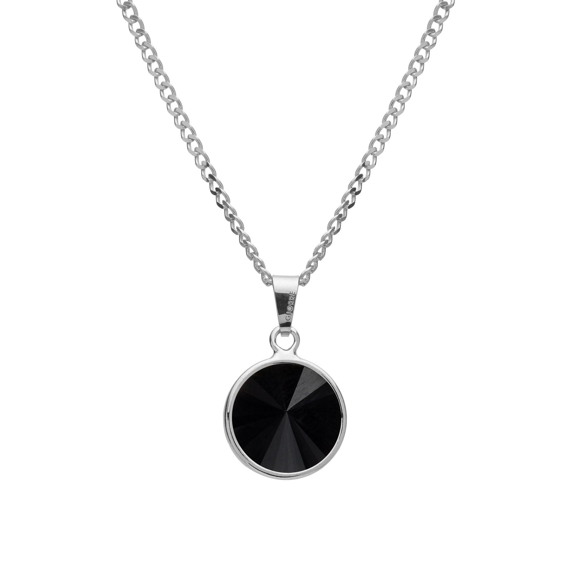 Srebrny naszyjnik z naturalnym kamieniem - onyx srebro 925