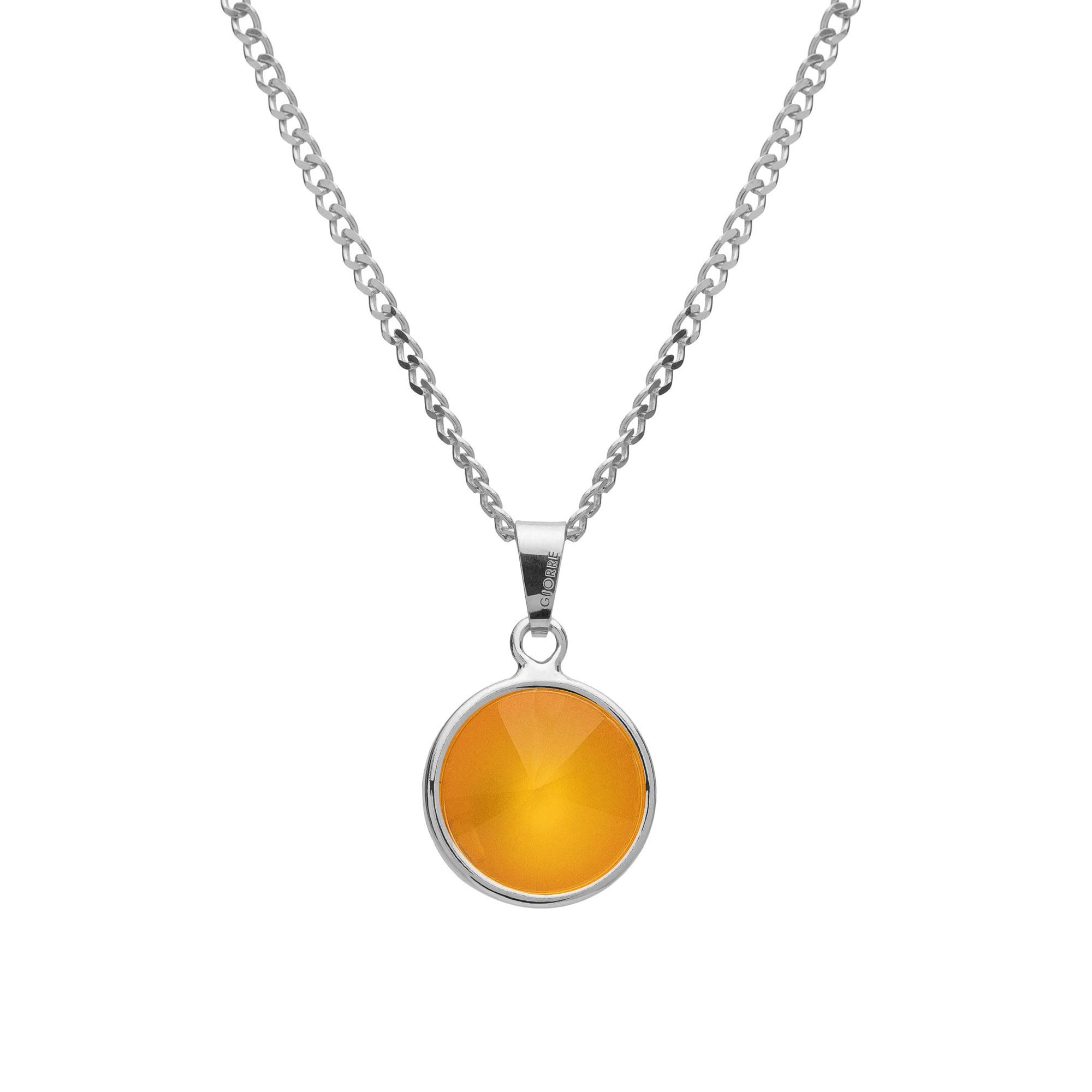 Srebrny naszyjnik z naturalnym kamieniem - karneol srebro 925