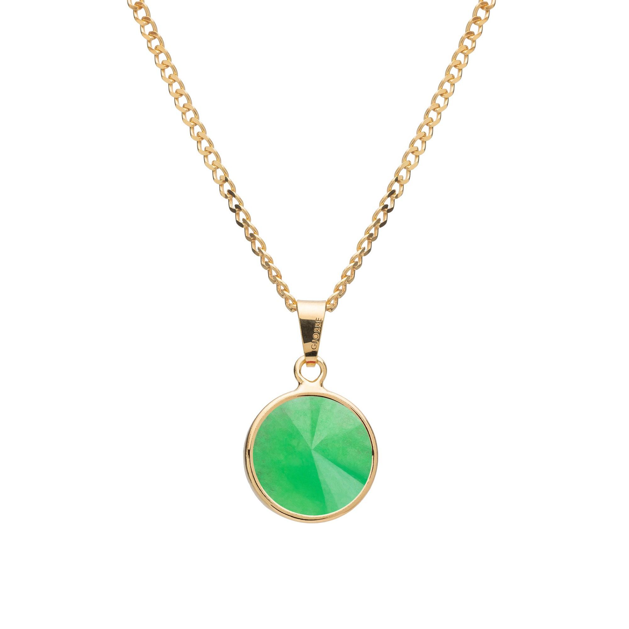Srebrny naszyjnik z naturalnym kamieniem - chryzopraz ciemny zielony srebro 925
