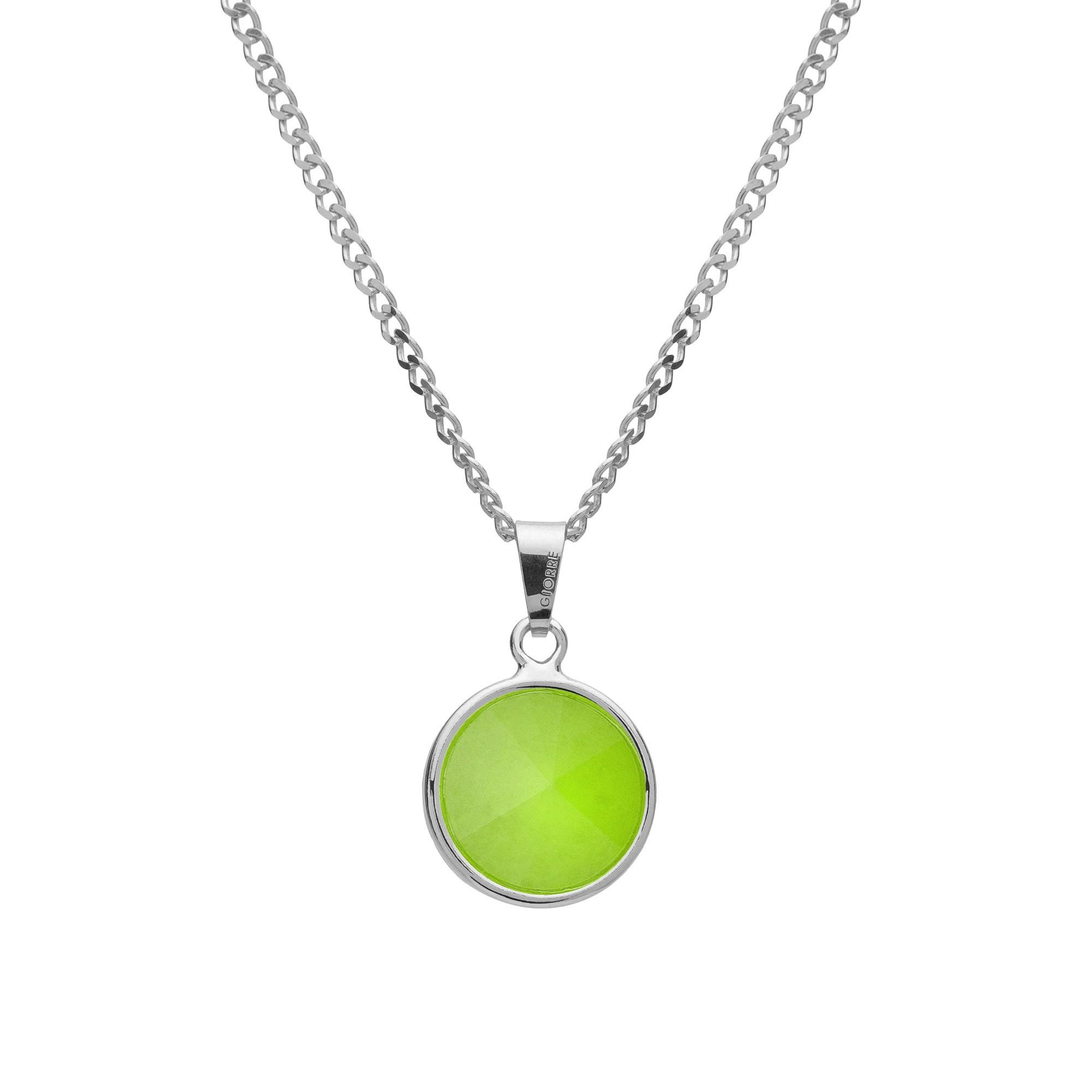 Srebrny naszyjnik z naturalnym kamieniem - chryzopraz jasny zielony srebro 925