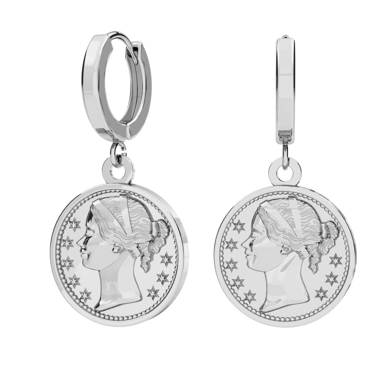 Kolczyki monety, srebro 925