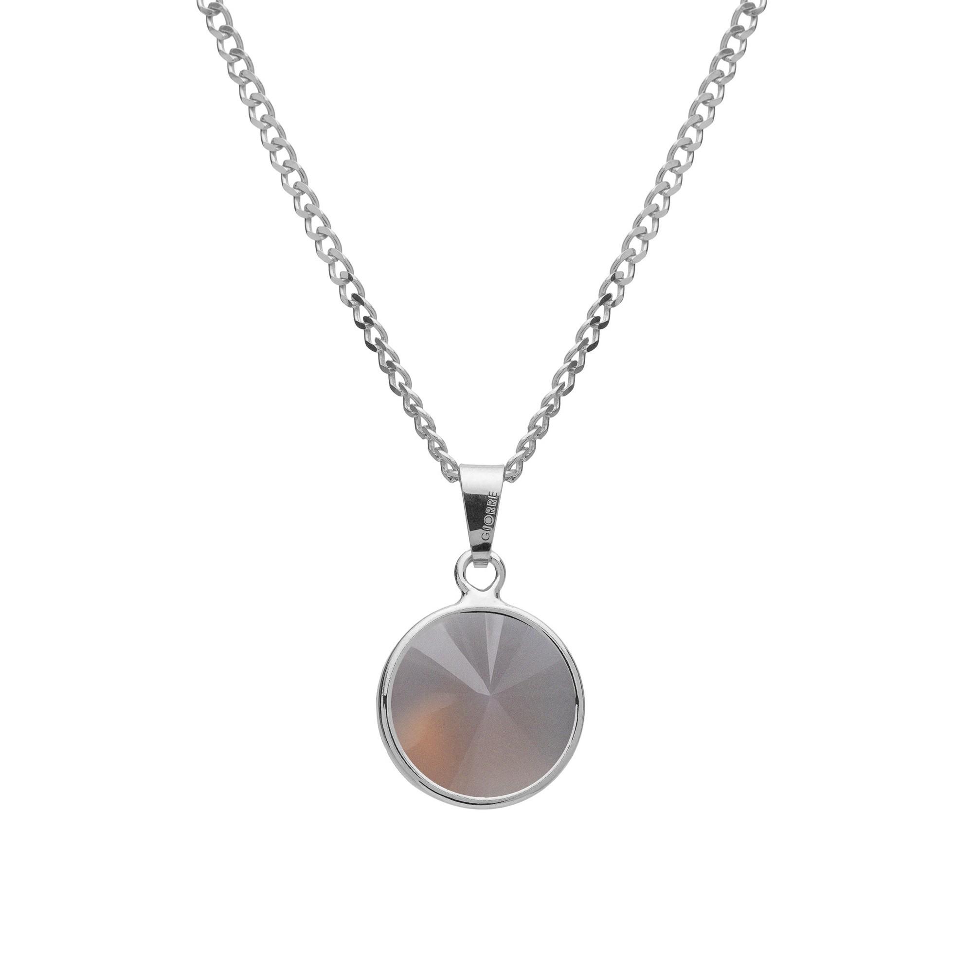 Srebrny naszyjnik z naturalnym kamieniem - kwarc dymiony srebro 925
