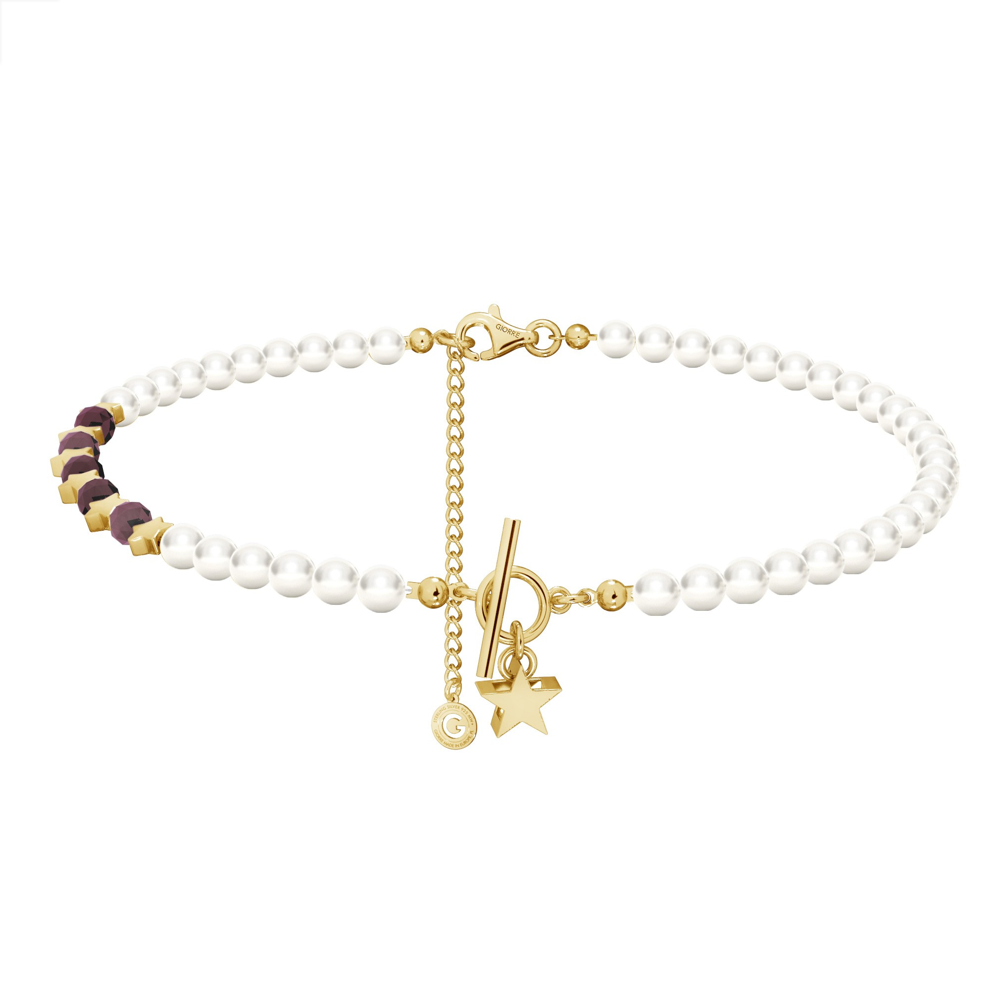 Ruby pearl choker with stars, sterling silver 925