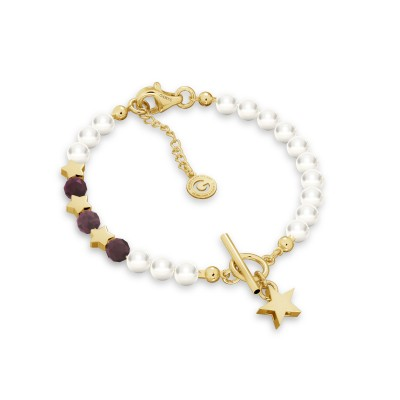 Ruby pearl bracelet with stars, sterling silver 925