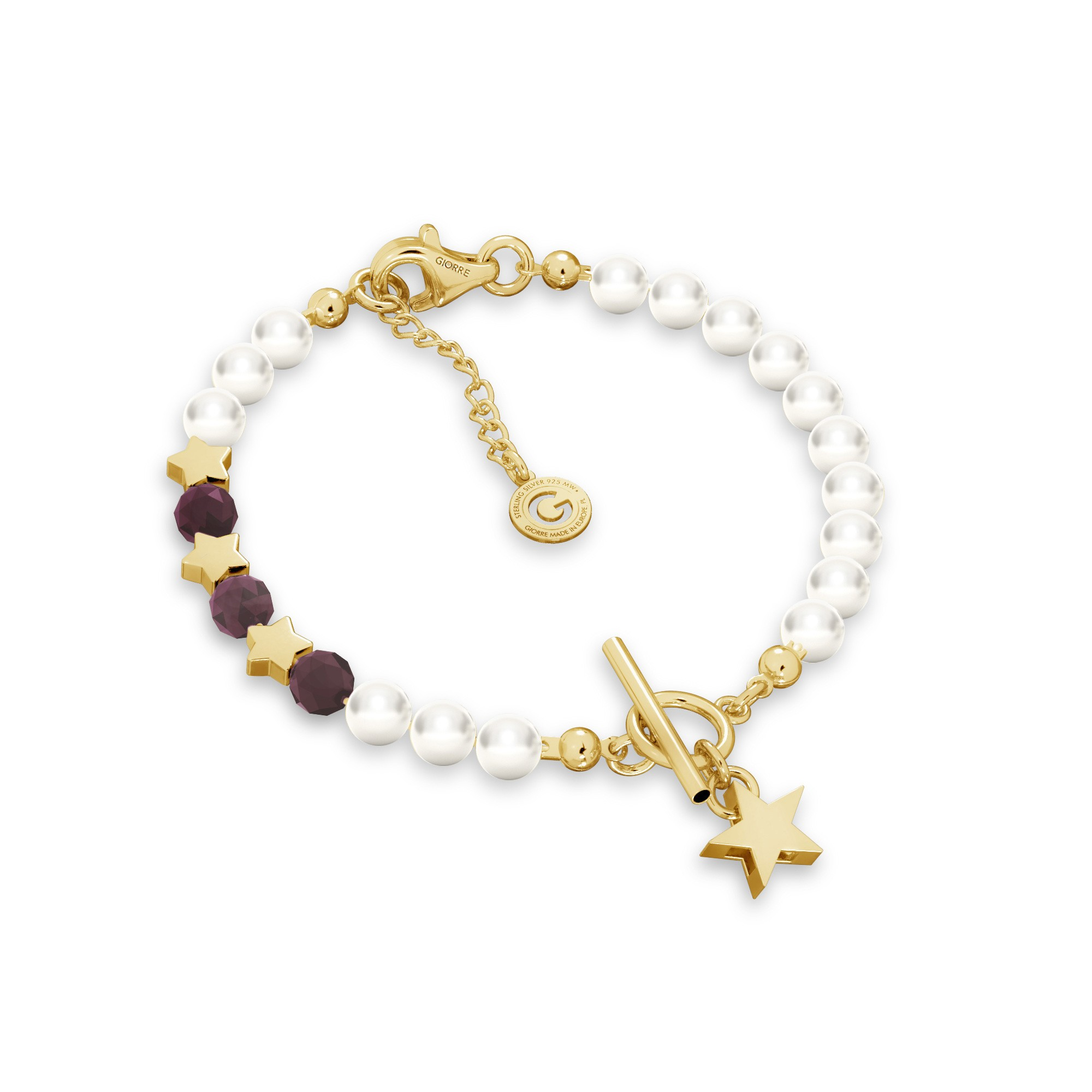 Rubinowa bransoletka z perłami i gwiazdkami, srebro 925