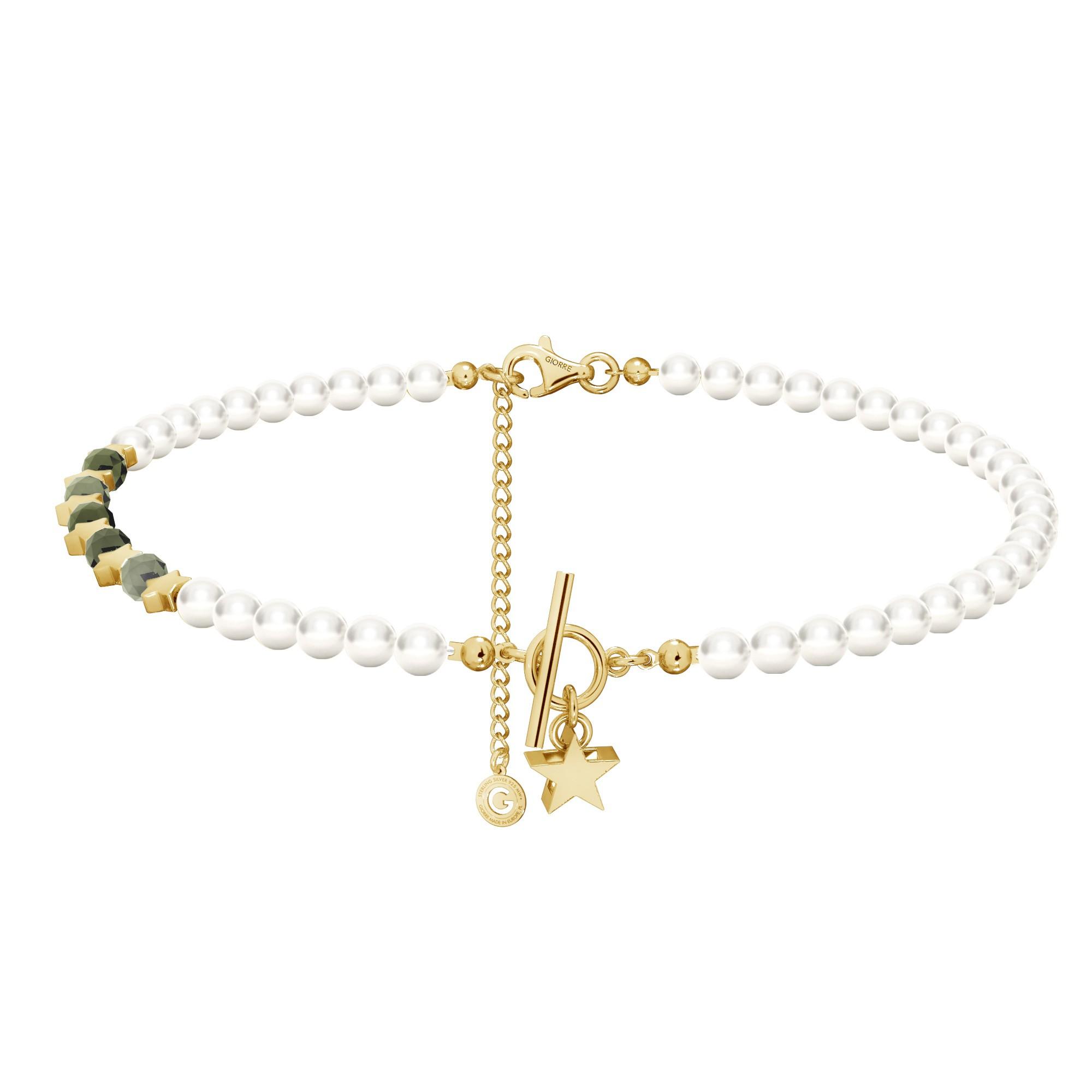 Szmaragdowy choker z perłami i gwiazdkami, srebro 925