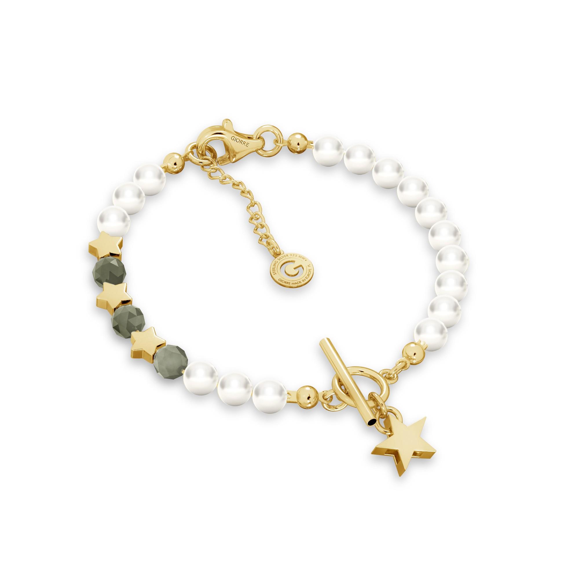 Szmaragdowa bransoletka z perłami i gwiazdkami, srebro 925
