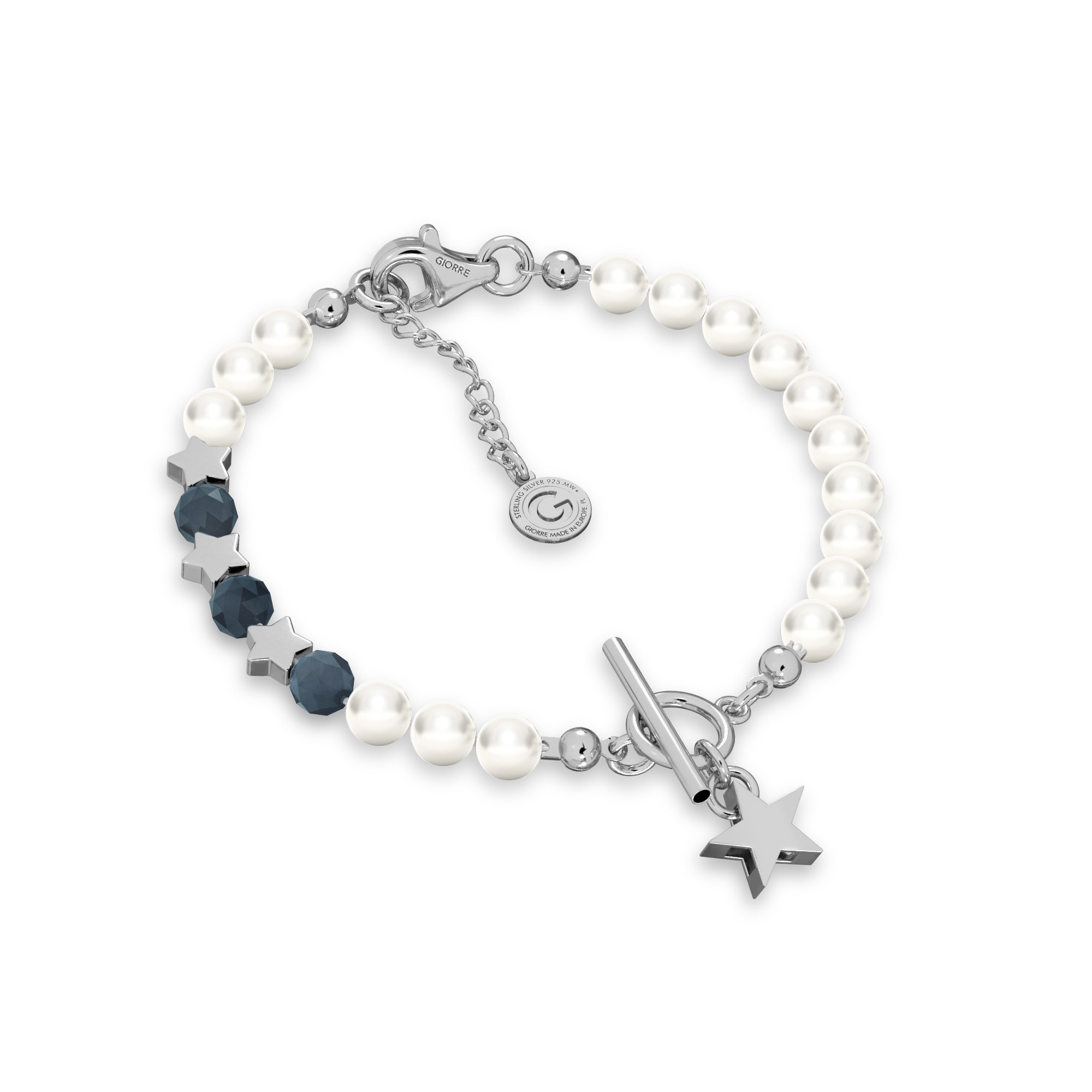Sapphire pearl bracelet with stars, sterling silver 925