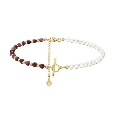 Rubinowy choker z perłami do wpinania charmsów, srebro 925