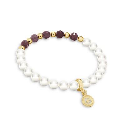 Ruby pearl bracelet, sterling silver 925