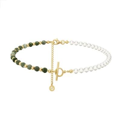 Szmaragdowy choker z perłami do wpinania charmsów, srebro 925