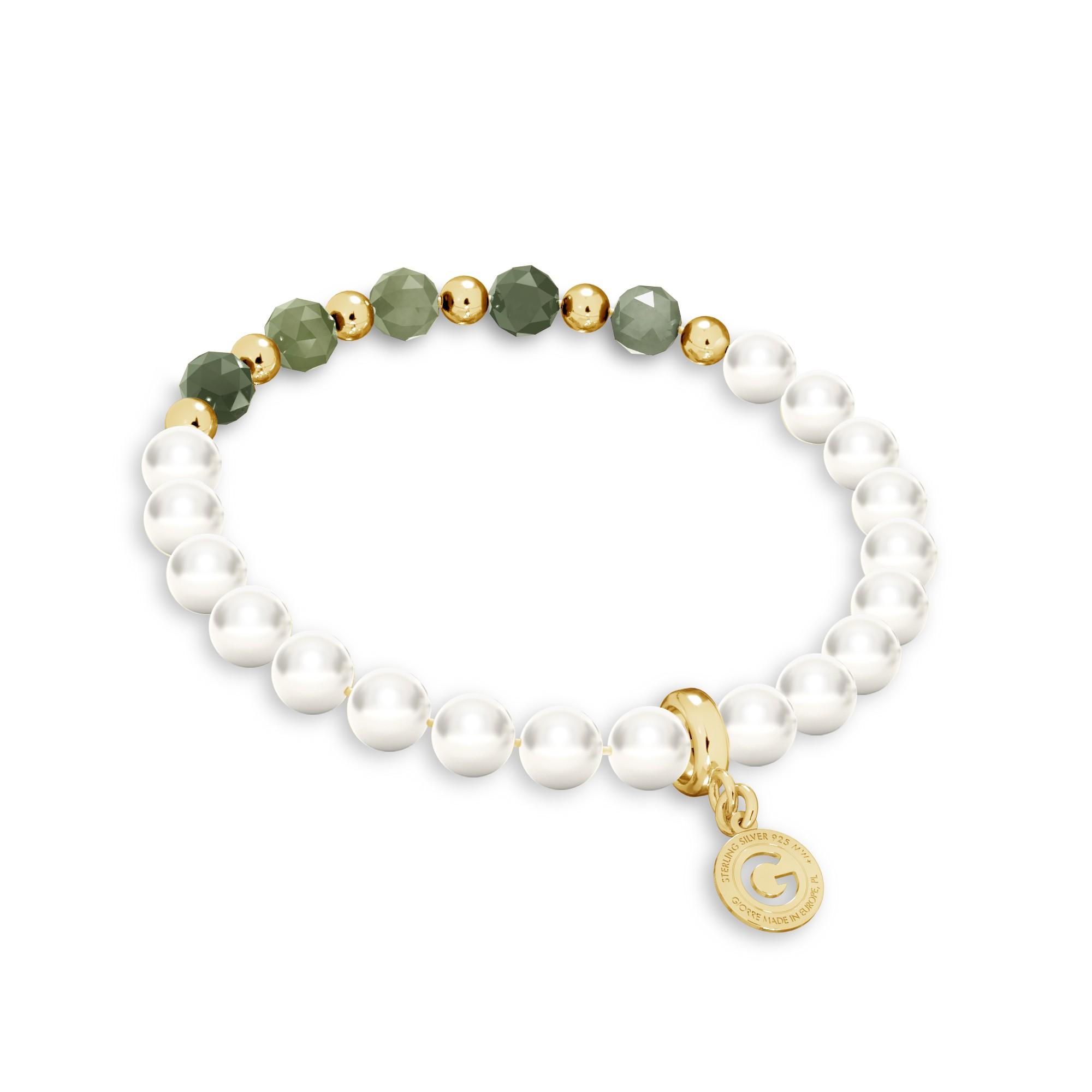 Szmaragdowa bransoletka z perłami, srebro 925