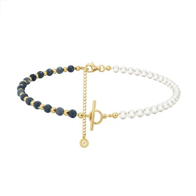 Sapphire pearl choker charms base, sterling silver 925