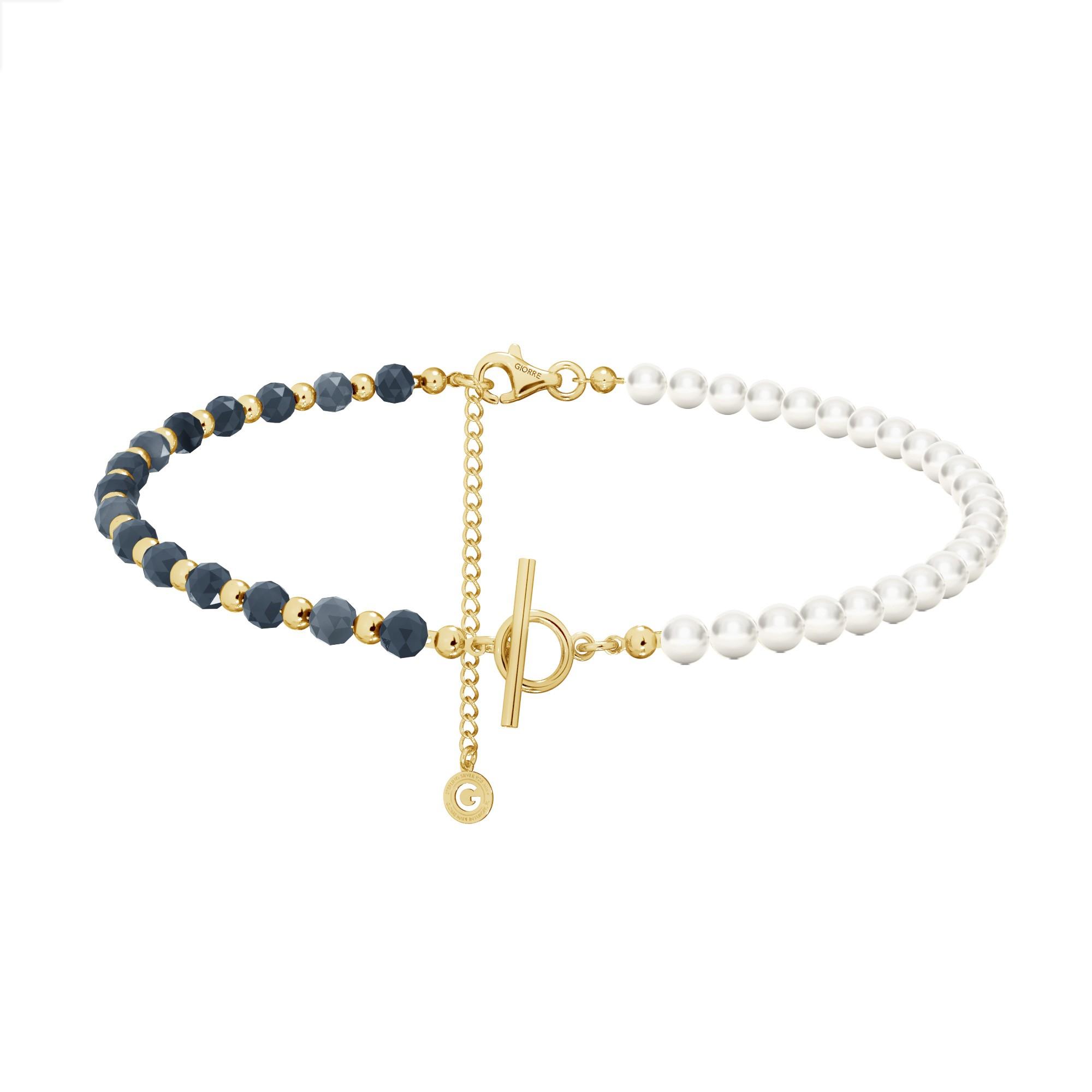 Saphir perlen halskette sterling silber 925