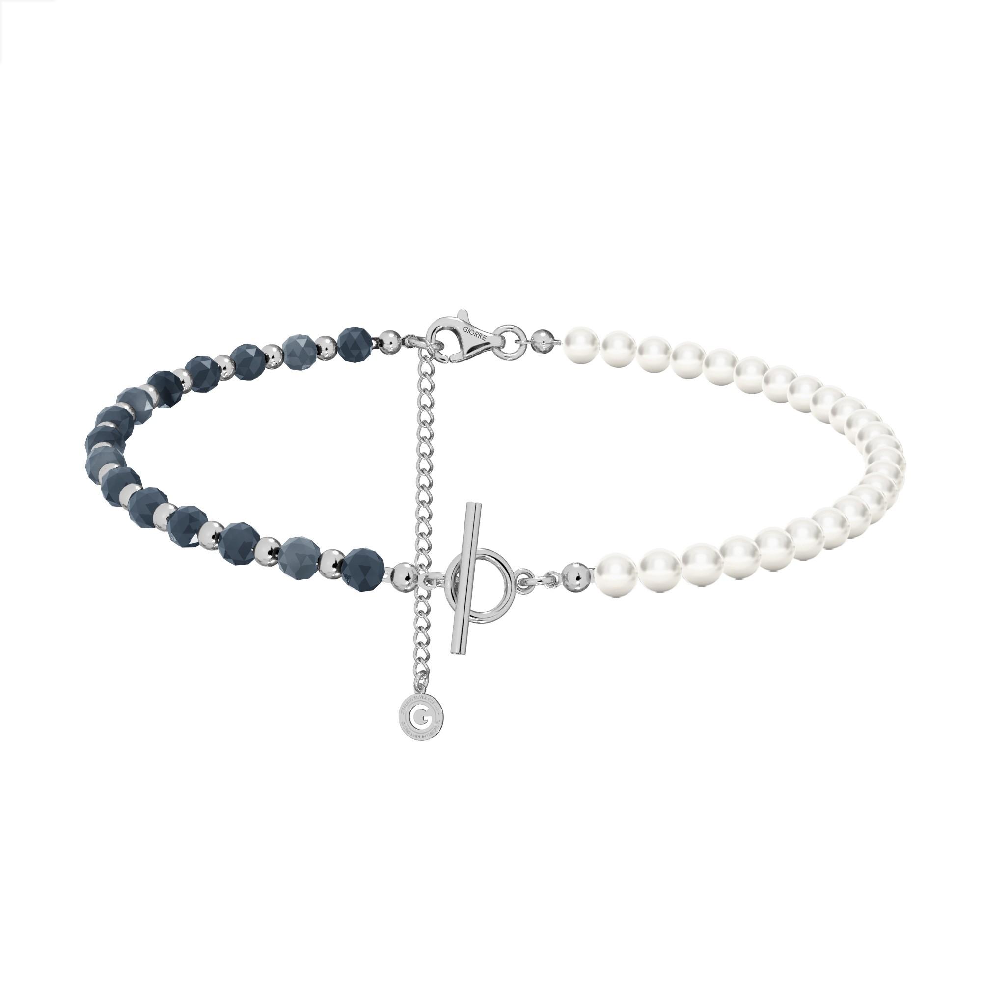 Szafirowy choker z perłami do wpinania charmsów, srebro 925
