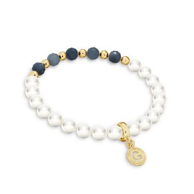 Sapphire pearl bracelet, sterling silver 925