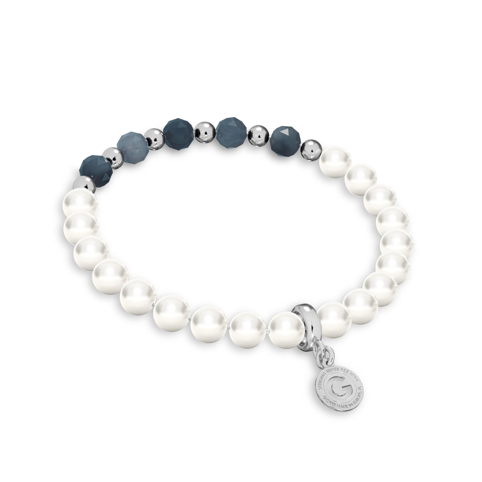 Szafirowa bransoletka z perłami, srebro 925