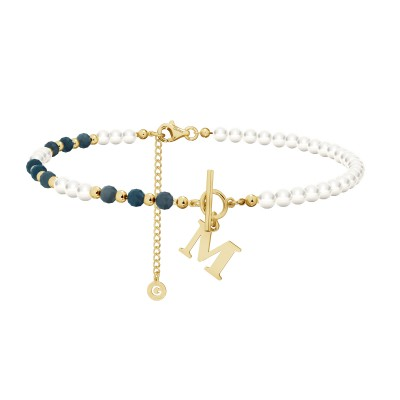Sapphire pearl choker with your letter, sterling silver 925