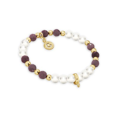 Ruby pearl charms bracelet, sterling silver 925