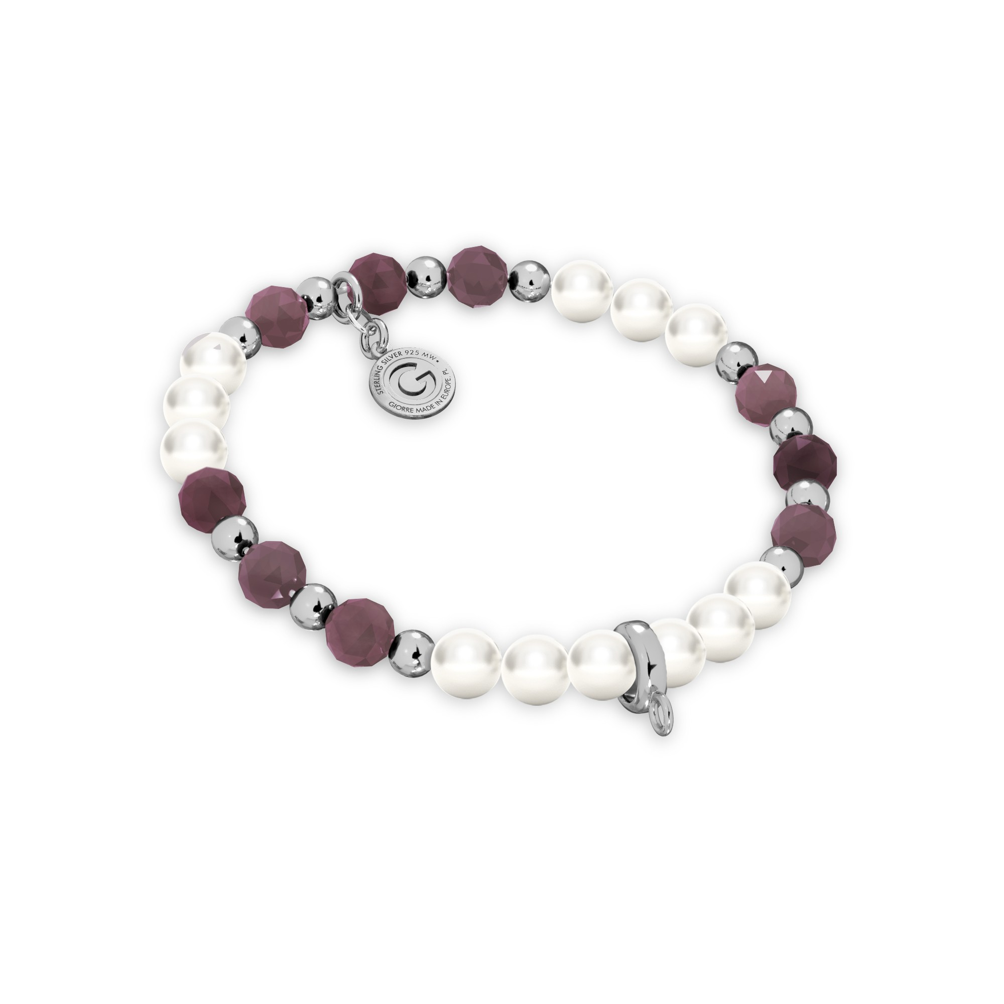 Rubinowa bransoletka z perłami do podwieszania charmsów, srebro 925