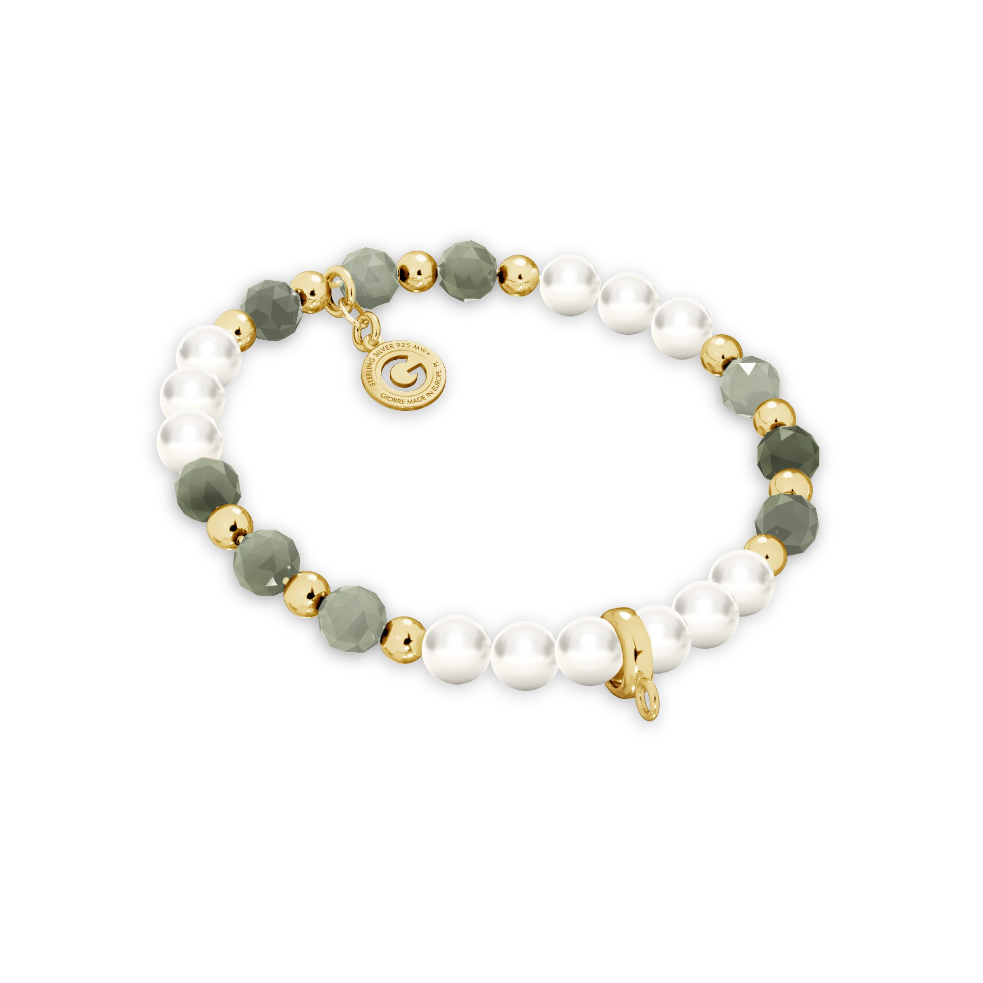 Emerald pearl charms bracelet, sterling silver 925