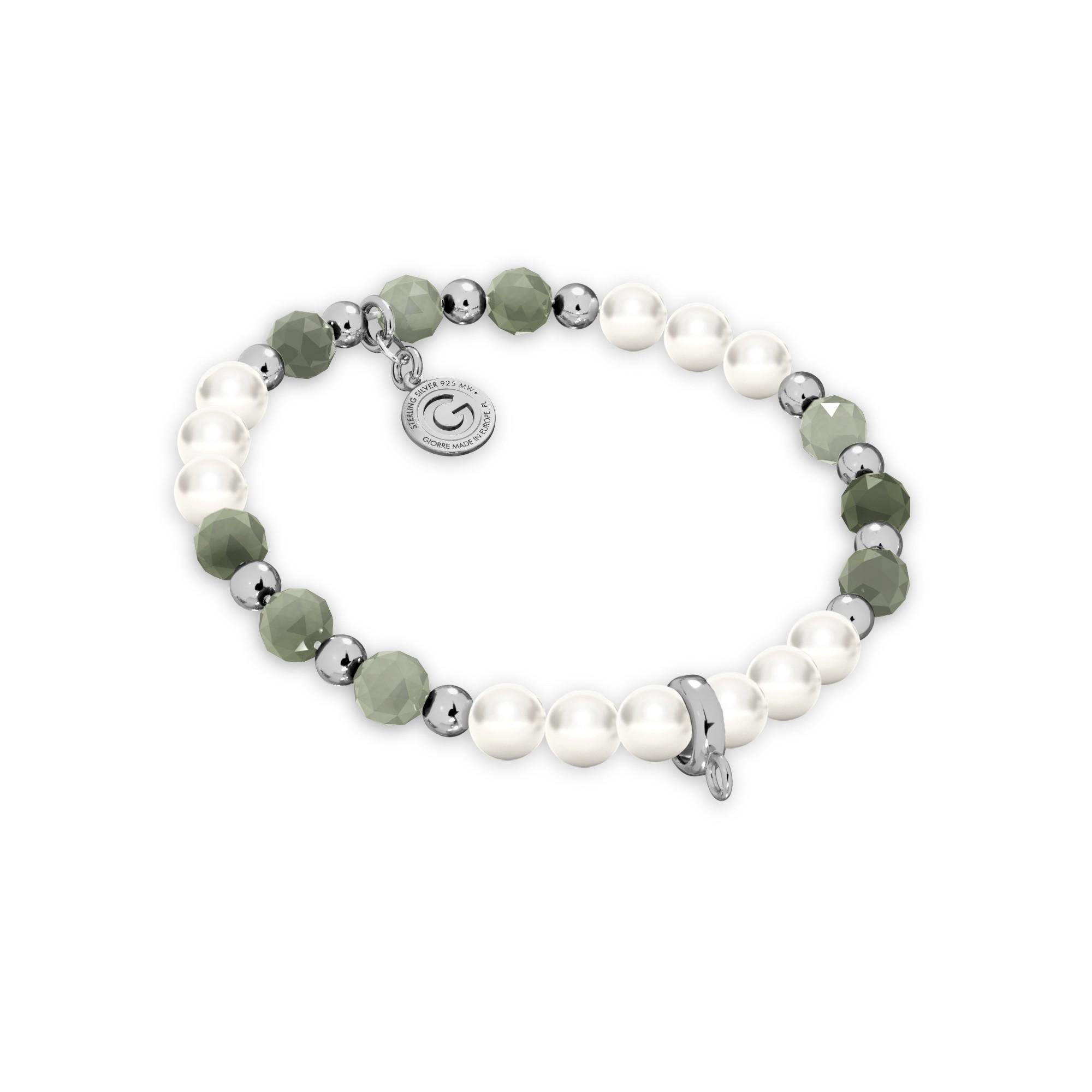 Szmaragdowa bransoletka z perłami do podwieszania charmsów, srebro 925