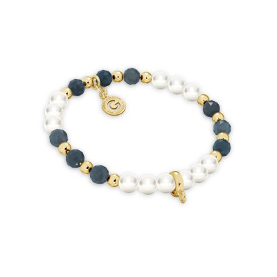 Sapphire pearl charms bracelet, sterling silver 925