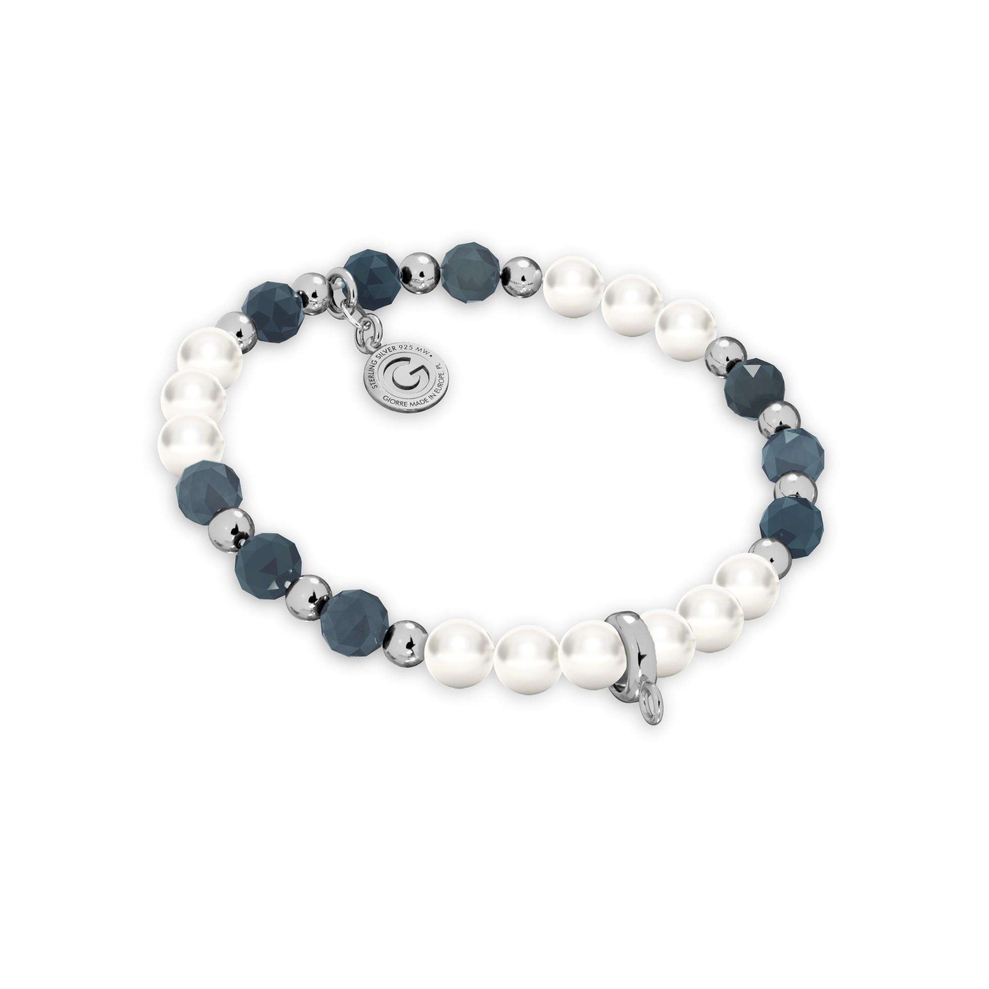 Szafirowa bransoletka z perłami do podwieszania charmsów, srebro 925