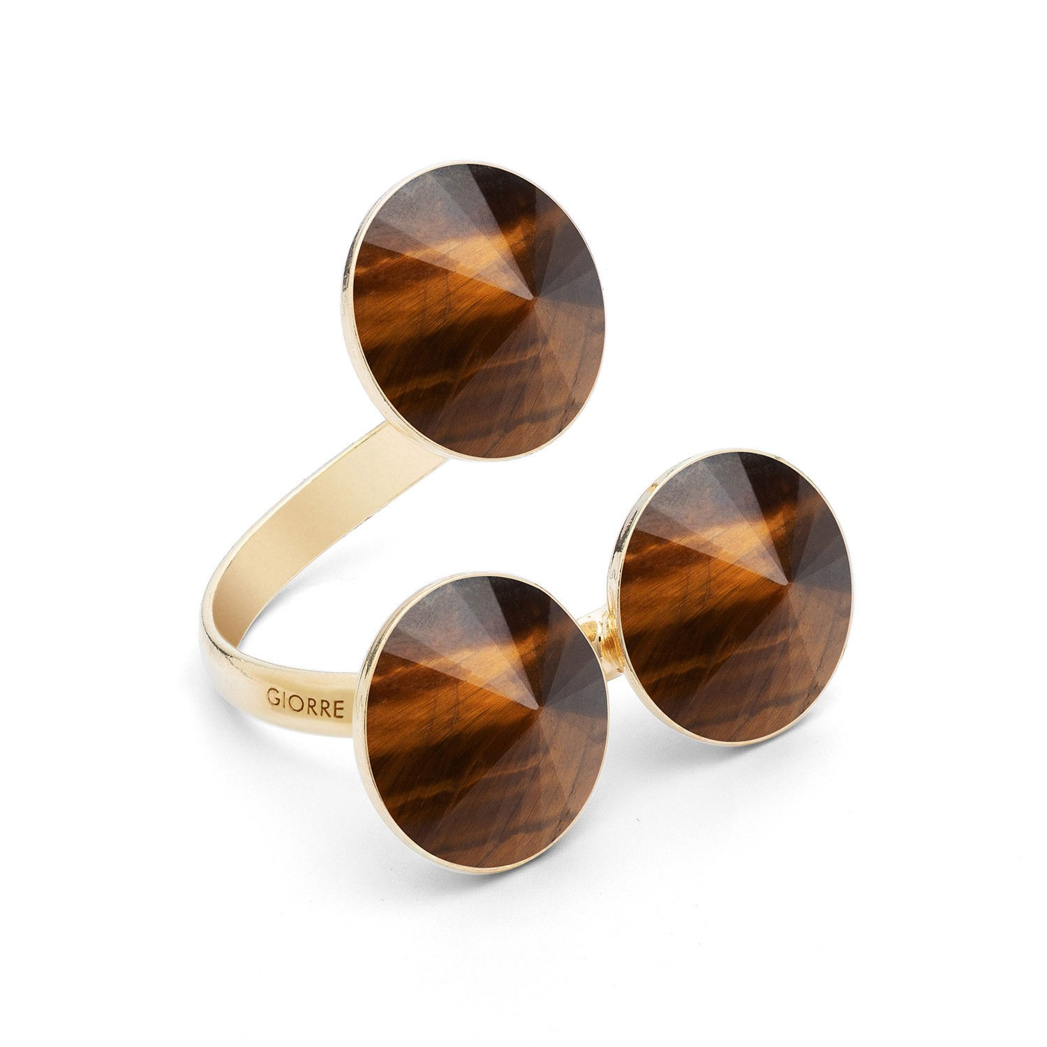 Universal ring with three round natural stones, tiger eye, 925