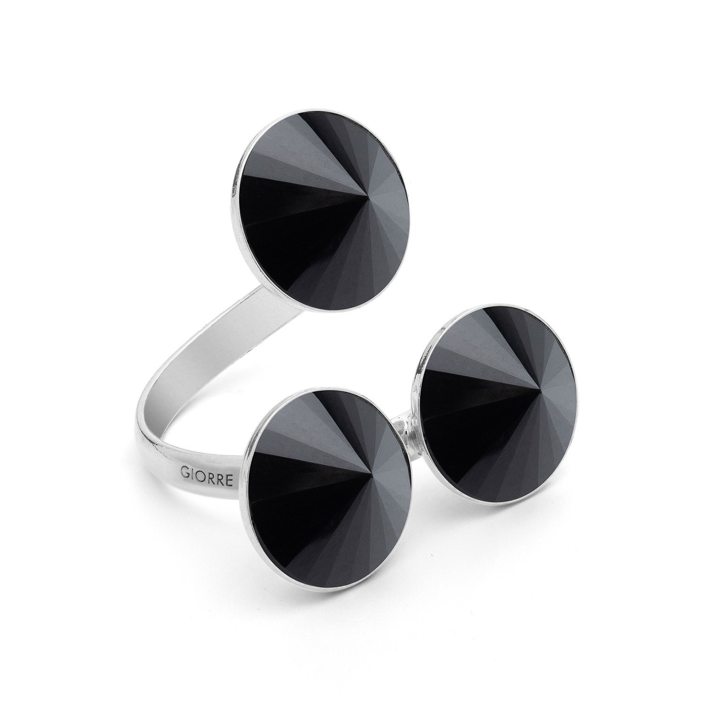 Pierścionek z trzema naturalnymi kamieniami - onyx srebro 925