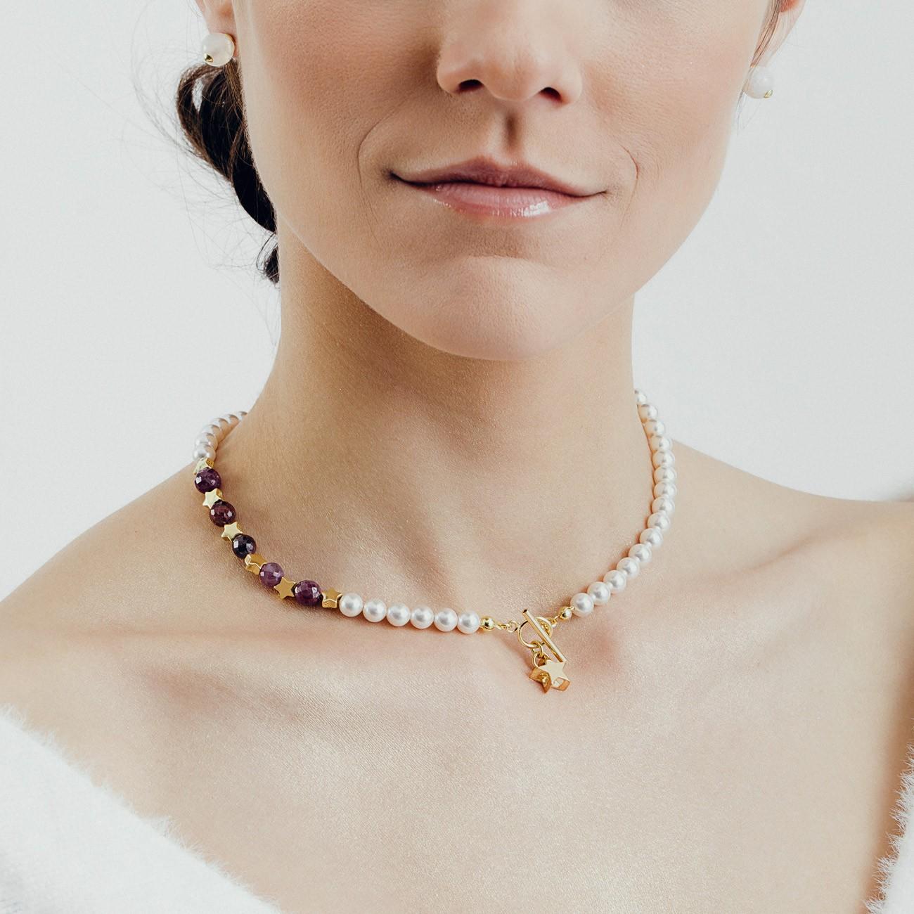 Rubinowy choker z perłami i gwiazdkami, srebro 925