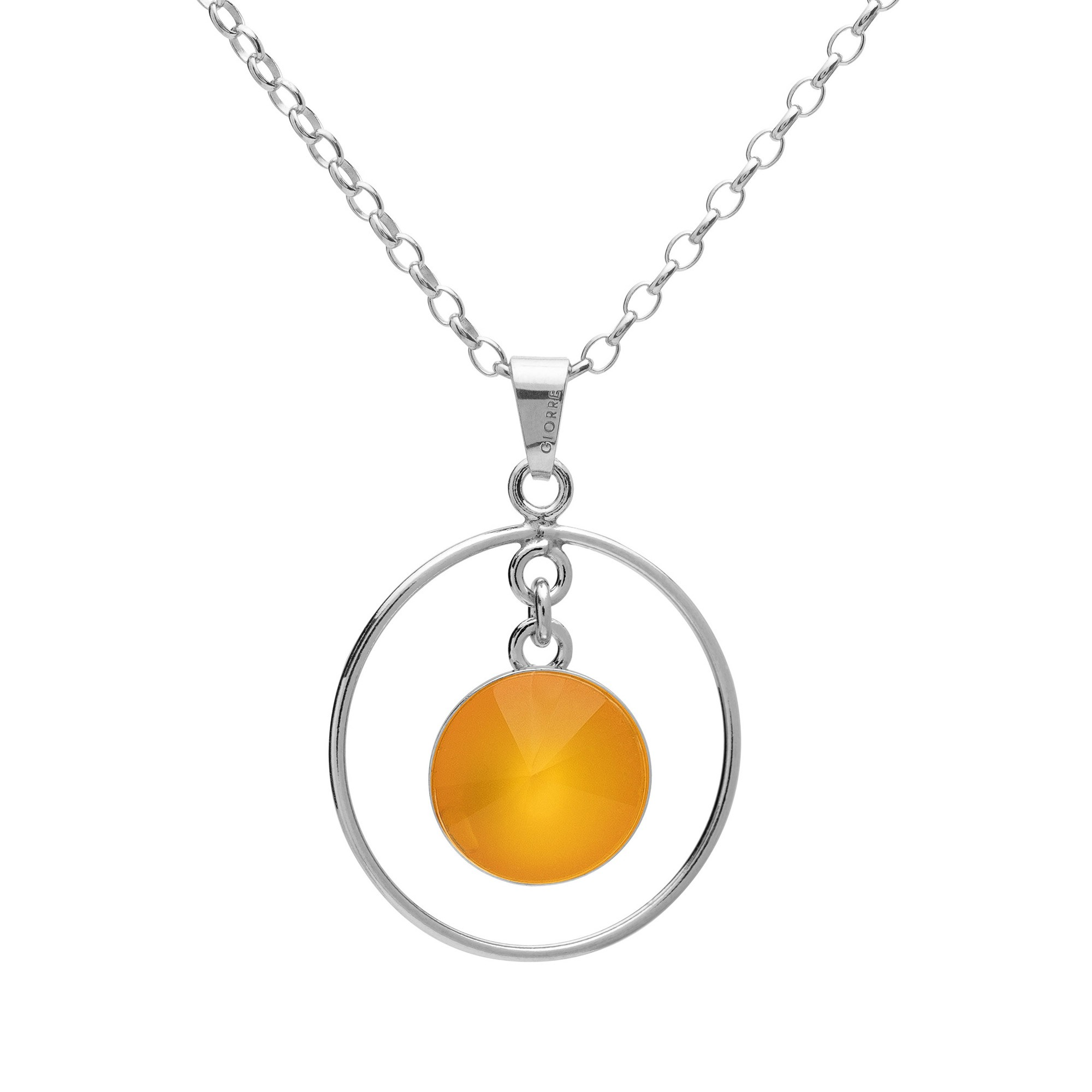 Round pendant natural stone necklace, sterling silver 925