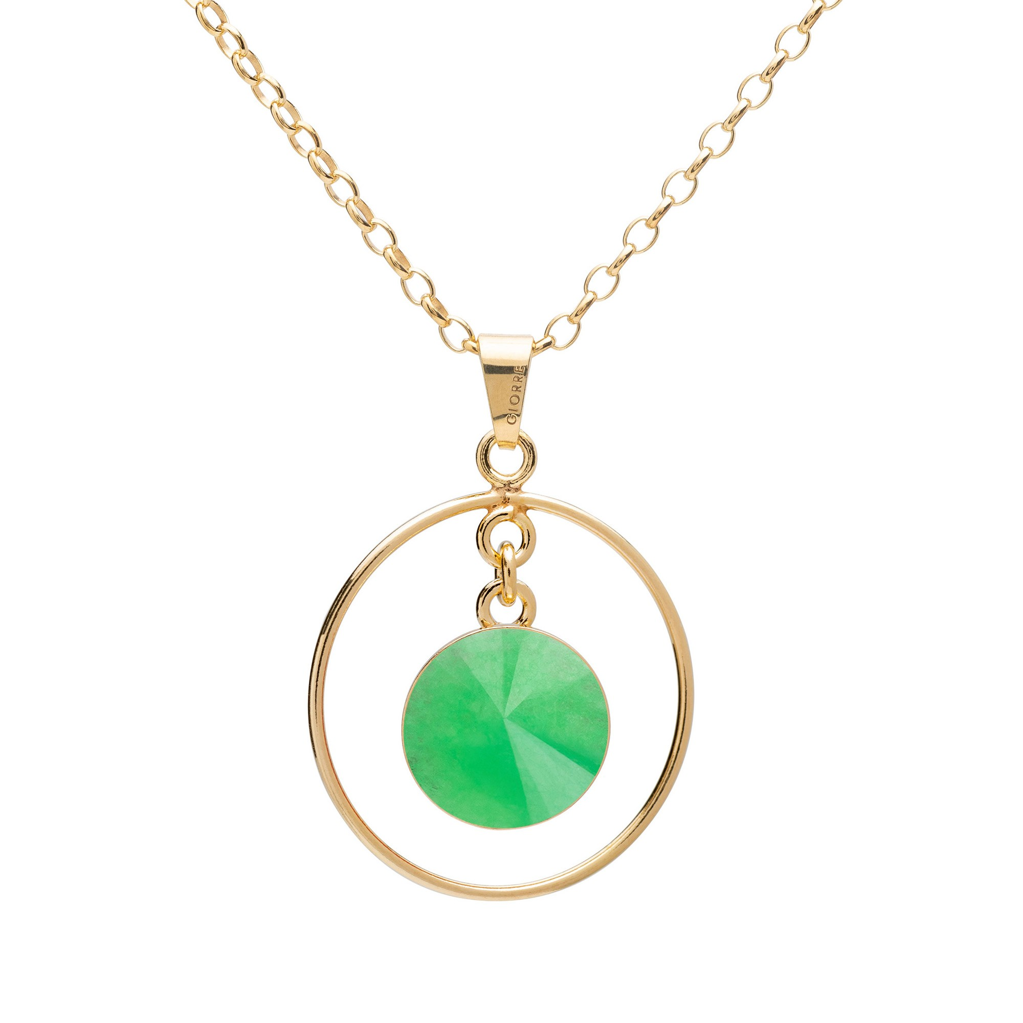 Okrągły naszyjnik z naturalnym kamieniem - chryzopraz ciemny zielony srebro 925