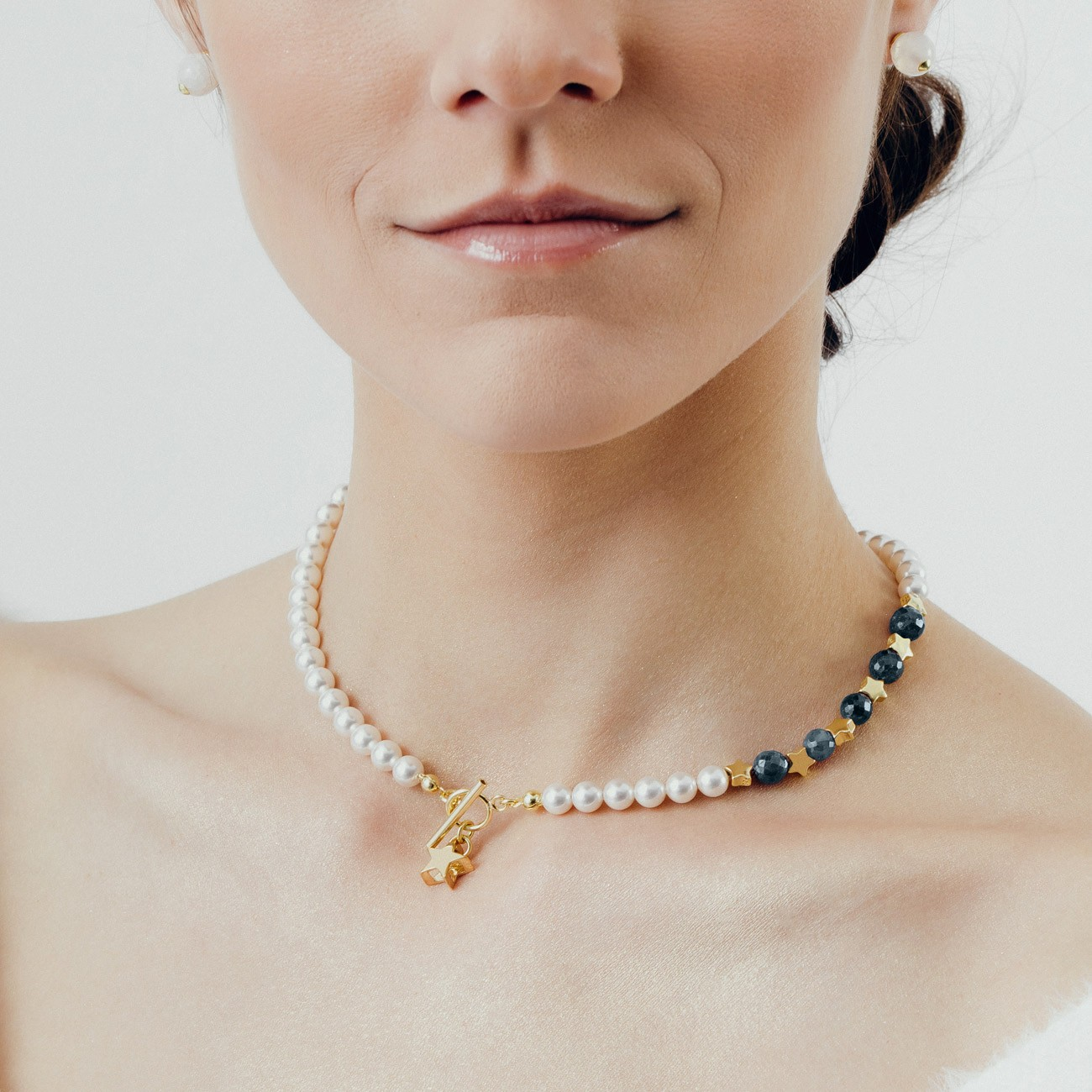 Sapphire pearl choker with stars, sterling silver 925