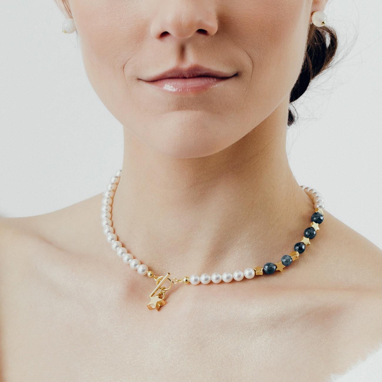 Szafirowy choker z perłami i gwiazdkami, srebro 925