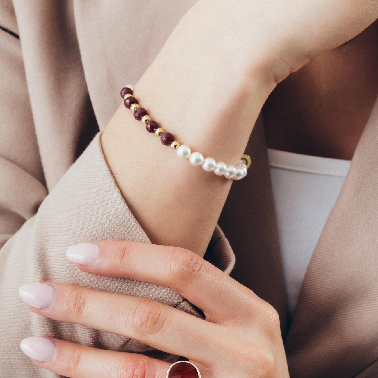 Rubinowa bransoletka z perłami, srebro 925